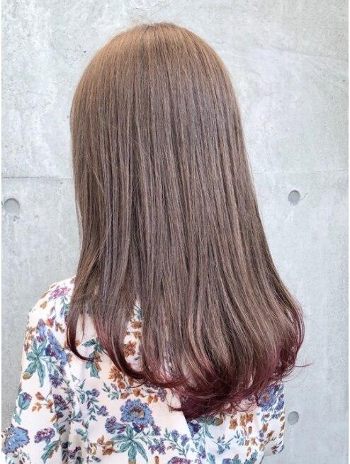 ブリーチなし ミルクティーピンクカラー Flowers 廣田