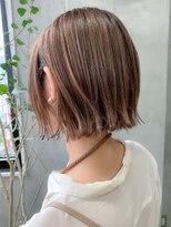 テトヘアー(teto hair)切りっぱなしボブ、外ハネボブ、スリークボブ、アッシュブラウン