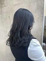 *ブリーチなし暗髪透明感カラーブルーブラックブルーアッシュ