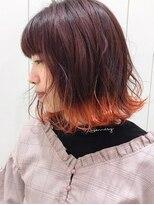 モリオフロムロンドン 大宮店(morio from London)【morio よしだあすか】切りっぱなしボブ×オレンジ裾カラー