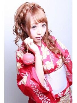 浴衣に似合う髪型アレンジ カプセル CAPSULE☆CAPSULE☆浴衣ハーフアップ
