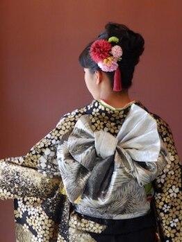 ブルーム ヘア デザイン(bloom hair design)の写真/[着付けルームあり☆]着物の柄に合わせた帯アレンジでもっと華やかに♪【bloom】で特別な日に彩りを!