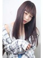 フェス カットアンドカラーズ(FESS cut&colors)『FESS 鶴丸』【切りっぱなしロングヘア×ラベンダーベージュ】