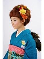 和装の大阪 梅田セットサロンRicco成人式個性的アップ画像