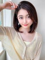 大人可愛い/透け感/前髪/小顔/くびれミディ/ラベンダーカラー