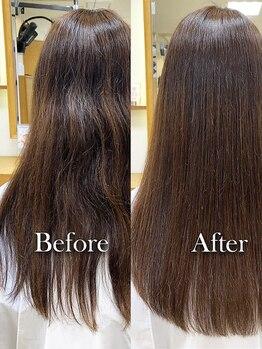 ミッゾ(MIZZO)の写真/人気の髪質改善コースあり★「極ツヤ髪質改善」でうねりを解消し,潤いと艶のある髪を実現【月寒中央/美髪】