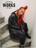 ワークス ヘアデザイン(WORKS HAIR DESIGN)外国人風ブレイズ 赤髪 RED color
