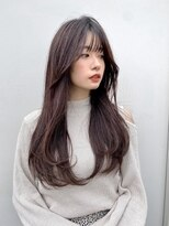 【riko荒木】韓国ロングレイヤーシースルーバングピンクベージュ