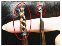 パーティパーティ ヘア(PARTYPARTY hair)の雰囲気((左)従来の編み込み(右)接合部わずか5mmのプルエクステ)