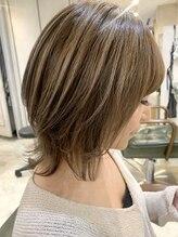 オーストヘアー 銀座(Aust hair)ウルフボブ☆ハイライトカラー×フォギーベージュ K