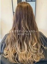 エスト ヘアー ルーナ 本八幡店(est hair Luna)ブロンドカラー_ハイライトカラー_ オリーブグレージュ