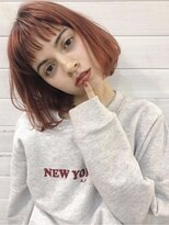 ロッジ 原宿店(RODGE)【nana】ワンレン ボブ オレンジヘアー