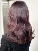 ラベンダーピンク 暖色系カラー 艶カラー ダブルカラー