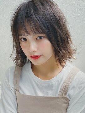 アグヘアー マーク 酒田下安店(Agu hair marc)《Agu hair》抜け感アッシュグレー外ハネMIXボブ
