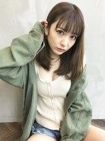 アンジェリカ ハラジュク(Angelica harajuku)グレージュカラーシースルーバングセミロングボルドー
