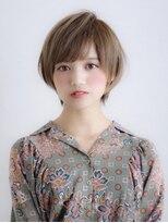《山崎美穂》30代ワンサイドショート グレージュカラー