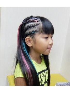 子供ダンスヘア イベントヘア コーンロウ キッズダンサー