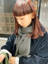テトヘアー(teto hair)スーパーワイドバングミディアムロブコーラルレッドオレンジ赤髪
