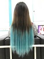 マーメイドヘアー(mermaid hair)グラデーションエクステ☆ターコイズ【太め】40本