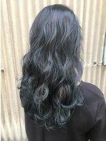 オリ(oli)外国人風カラー 暗髪ブルーアッシュ 透けるカラー