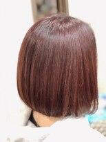 カイナル 関内店(hair design kainalu by kahuna)前下がりボブ×ワインレッド