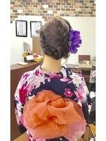 サロンド クラフト(salon de craft)【浴衣】フェミニンな帯結びの編み込みフルアップスタイル♪