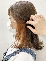 ロッジ 原宿店(RODGE)【nana】インナーカラー オレンジ 髪質改善