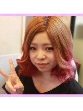 ノイズシェーン(NEU!z SCHOEN)原色グラデの前髪シールエクスタイル