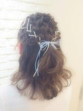 ミエルヘアーアンドスパ(miel hair&spa)◆miel◆ リボン レースアップ 編み込み ハーフアップ