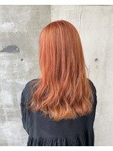 ガルボ ヘアー(garbo hair)#オレンジカラー#ロングヘア#高知美容室#下村スタイル