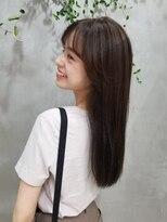 テトヘアー(teto hair)ストレート アッシュブラウン シースルーバング 韓国ヘアー