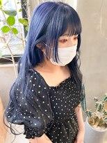 ネイビーカラー 青髪 ブルーカラー 姫カット ロング