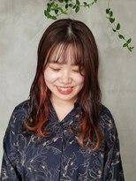 テトヘアー(teto hair)インナーカラー オレンジ イルミナカラー シースルーバング