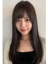小顔 ナチュラルストレート バング ブランジュ 髪質改善 美髪