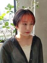 テトヘアー(teto hair)前髪インナーカラーオレンジ 黒髪 インナーカラー ヘムライト