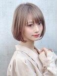 【東 純平】小顔に見えるナチュラルボブ+インナーカラー