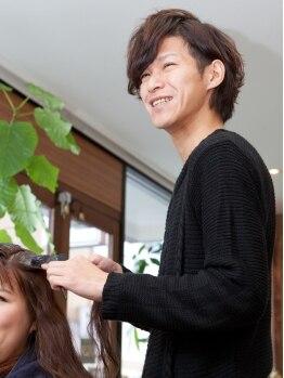 ジーナ(JINa)の写真/1人のスタイリストがお仕上げまで担当☆高い技術力であなたの髪のお悩みを一緒に解決♪