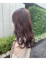 *ブリーチなしピンクベージュ巻き髪ロングヘアラベンダーピンク