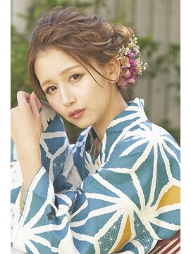 前髪アップ☆浴衣大人っぽシニヨン:L013214364|ヘアメイク