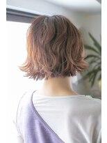 ヘアー ピープル(Hair People)ショートバング×オレンジベージュ