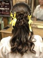 ヘアセットサロン アトリエ チャイ(Hair set salon atelier CHAI)リボン編み込みフラワーハーフ