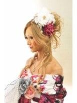 盛り髪(盛りヘア)の浴衣花魁盛り髪アップスタイル画像