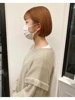 ヘアーアイスカルテット(HAIR ICI QUARTET)オレンジカラー 暖色系カラー ミニボブ