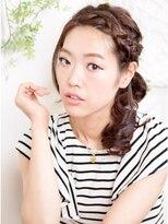 オーガニックサロン フェイス 梅田店(organic salon face)編み&リボンで可愛く☆淡めアップスタイル