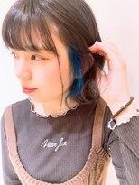 ネオヘアー 曳舟店(NEO Hair)アッシュ×イヤリングブルー(曳舟)
