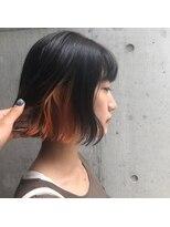 インナーカラー*オレンジ 3Dカラー切りっぱなしボブ 担当Yuka