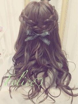 結婚式の髪型 ハーフアップ 編み込みリボンハーフアップ♪