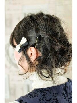 結婚式 髪型 ショートボブ ヘアアレンジ  編み込みほぐしアップ!