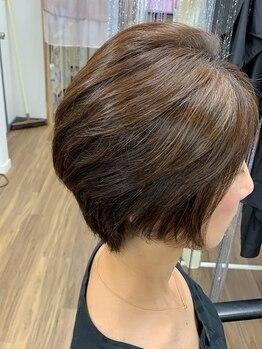 ヘアー サロン ガット(hair salon Gatto)の写真/【城野駅近く】TOPボリュームと自然な流れにこだわった、大人女性のキレイをショートカットで再現♪