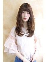 【LiL'豊中】厚めバング小顔セミロング斜めバングハニーヘア